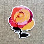 Rosa Naranja Rose Sticker - Vinyl Waterproof Sticker, Floral Laptop Decal, Original Art Sticker