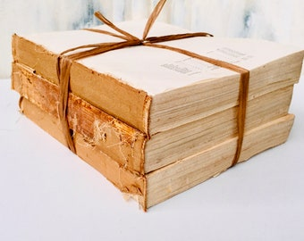 Charming Distressed Antique Book Bundles, Light Academia Aesthetic, Coverless Vintage Encyclopedias, Antique Book Pages with Fold Out Maps
