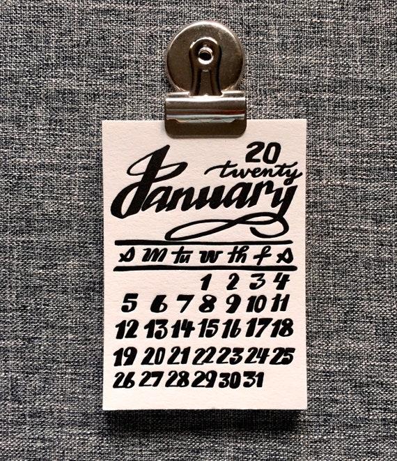 Little Letterpress 2020 Calligraphy Calendar Small Magnetic Etsy