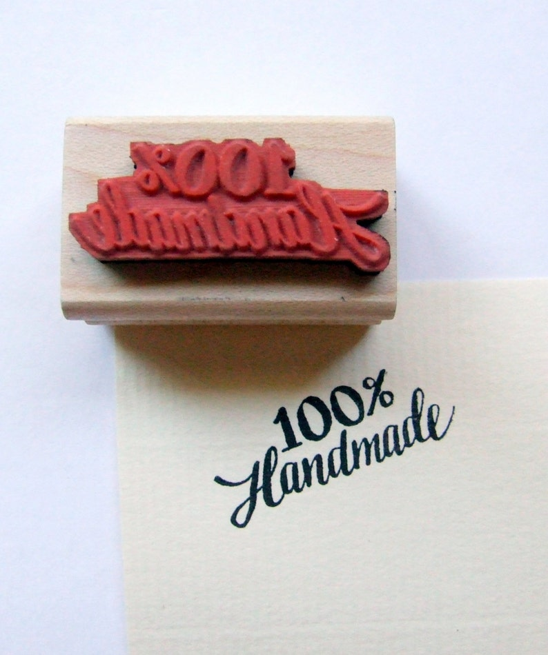 Hand Lettered Rubber Stamp One Hundred Percent image 0