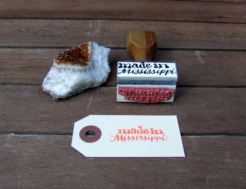 Made in Mississippi Rubber Stamp Calligraphy Stamp Wedding image 0