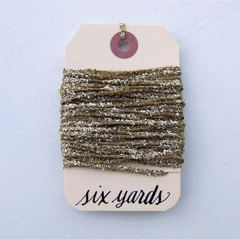 Gilded Gold Tinsel String 6 Yards of Glittery Gold Metallic image 0