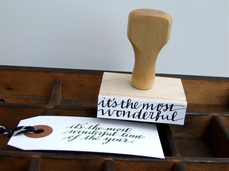 Hand Lettered Holiday Stamp Handwritten Calligraphy Rubber image 0