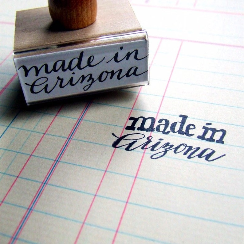 Made in Arizona Rubber Stamp Hand-Lettered AZ State Stamp image 0