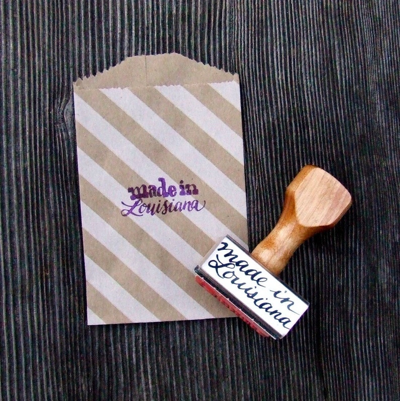 Made in Louisiana Rubber Stamp Calligraphy Stamp State image 0