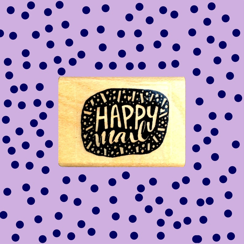 Happy Mail Rubber Stamp Letter Writers Stamp Cute Packaging image 0