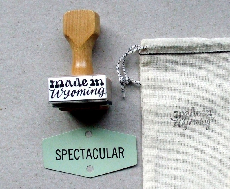 Made in Wyoming Rubber Stamp Hand Lettered Calligraphy image 0
