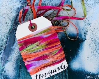 Hummingbird Flight, Skinny Ribbon Yarn String, 10 Yards, Lilac, , Nectarine Orange, Moss Green, Fuchsia Pink, Pretty Packaging