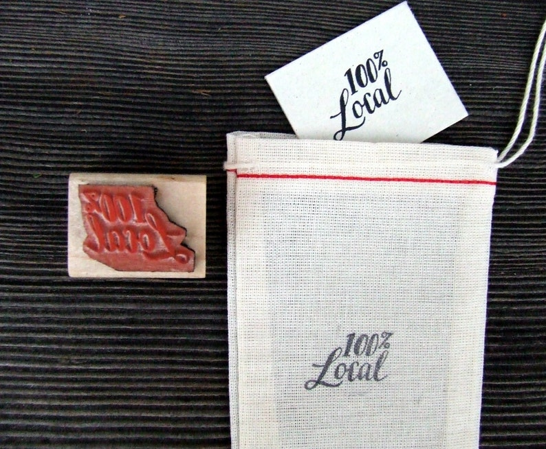 100 Percent Local Rubber Stamp Hand Lettered Calligraphy image 0