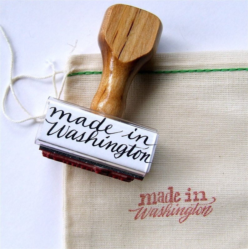 Made in Washington Rubber Stamp Calligraphy image 0