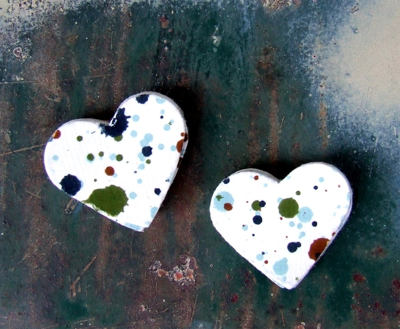 Paint Splatter Heart Stickers 20 Envelope Seals Blue Green image 0