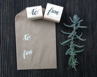to & from Mini Rubber Stamp Set, Address Label Invitation Stamps, Handwritten Calligraphy