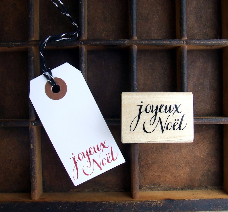 Joyeux Noël Rubber Stamp Christmas Crafts Holiday Gift Wrap image 0