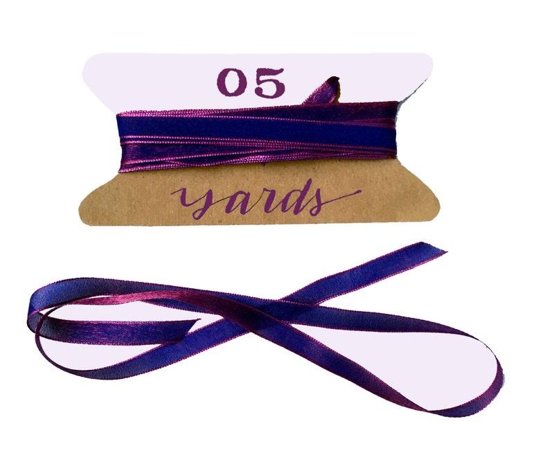 Vibrant Purple Pink Ribbon 5 Yards Woven Iridescent Ribbon image 0