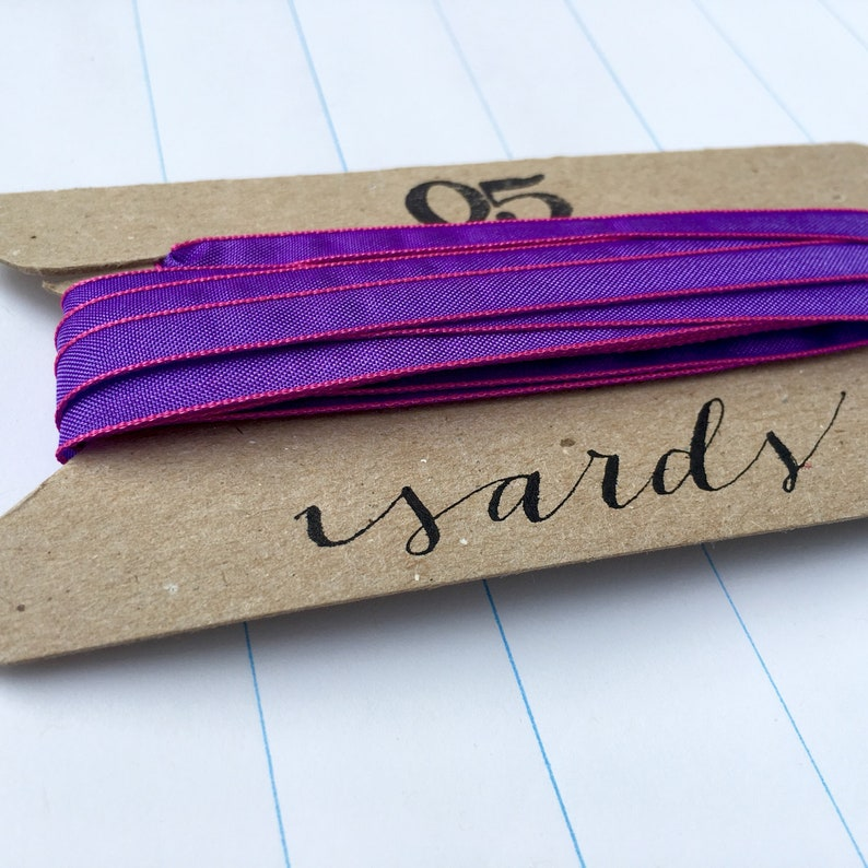 Victory Violet Ribbon with Hot Pink Edging 5 Yards 1/4 image 0