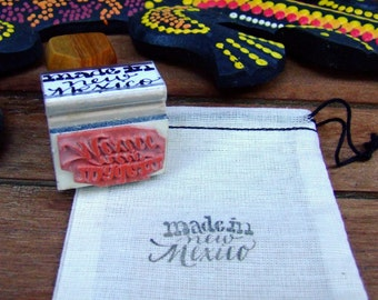 Made in New Mexico Stamp, Calligraphy Stamp, Southwest Rubber Stamp, Shop Packaging, DIY Stationery, Home State Stamp, Made in USA