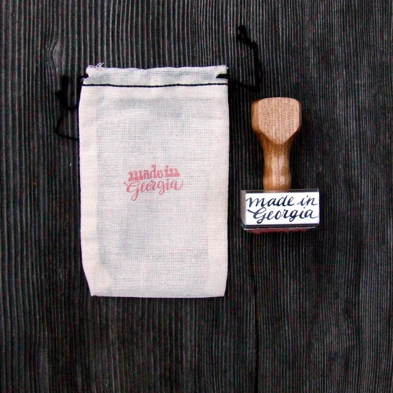 Made in Georgia Rubber Stamp Hand Lettered Calligraphy image 0