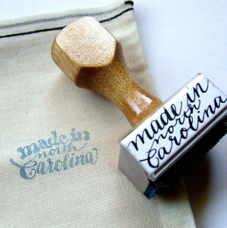 Made in North Carolina Rubber Stamp Unique Calligraphy Stamp image 0