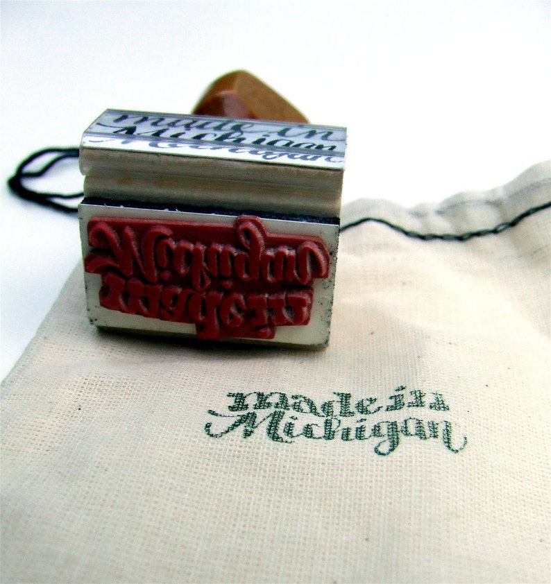 Made in Michigan Rubber Stamp Shop Branding Calligraphy image 0