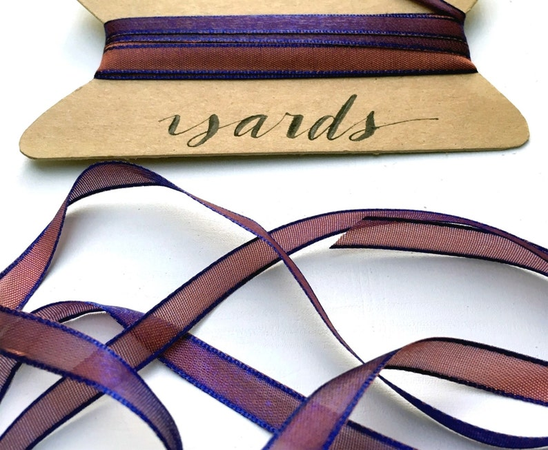 Royal Blue and Copper Ribbon 5 Yards Shimmery Iridescent image 0