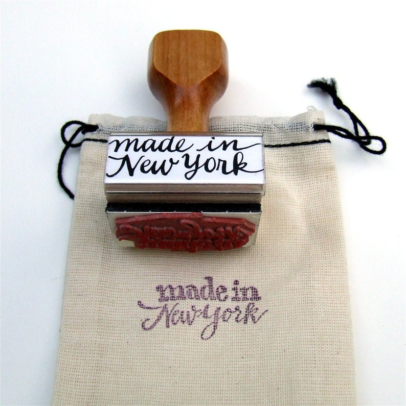 Made in New York Rubber Stamp State Love Calligraphy Stamp image 0