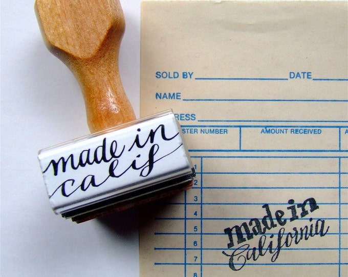 Made in California Rubber Stamp, State Love Calligraphy Stamp