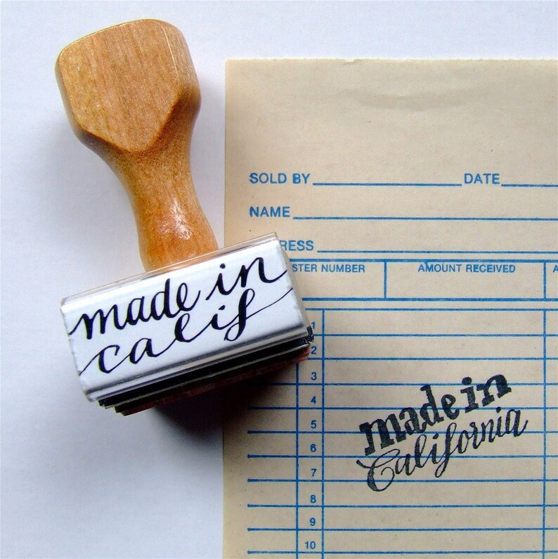 Made in California Rubber Stamp State Love Calligraphy Stamp image 0