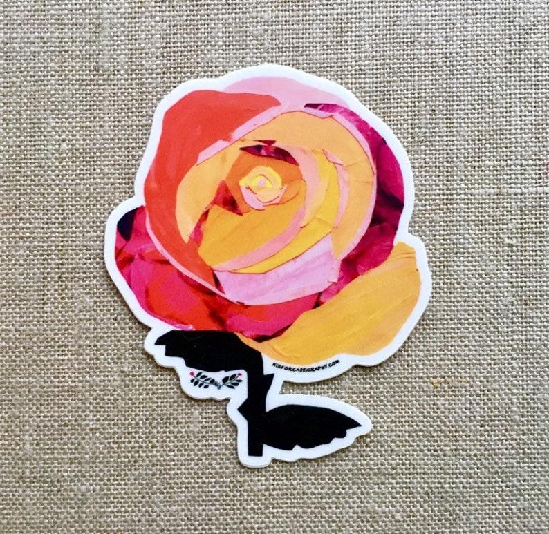 Rosa Naranja Rose Sticker  Vinyl Waterproof Sticker Floral image 0