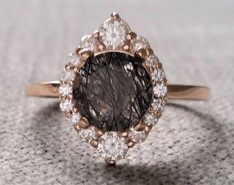 "Black Rutile Quartz Diamond Engagement Ring Halo Bohemian Art Deco Indian Vintage Antique 14K Rose Gold Exclusive ""The Jasmine"""