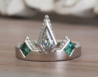 """Moissanite and Emerald Modern Crown Kite Princess CutMinimalist Unique Custom Engagement Ring """"The Viona"""""""