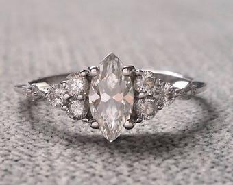 "E-F Moissanite Antique Engagement Ring Victorian Marquise Diamond Geometric Bohemian Antique Filigree Delicate 14K White Gold ""The Delphine"""