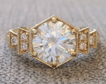 """Antique E-F 2 carat Center Moissanite and Diamond Engagement Ring Yellow Gold 1920s Copper Bohemian PenelliBelle Exclusive """"The Florence"""""""