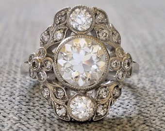 """Three Stone Old European Moissanite and Diamond Floral Engagement Ring 14K White Gold Flower Antique Victorian Bohemian """"The Ophelia"""""""