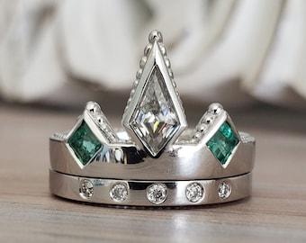 "WEDDING BAND ONLY Moissanite Wedding Ring Modern Crown Cut Minimalist Unique Custom  ""The Viona"""