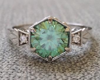 "8 mm center version Antique Diamond  Mint Moissanite Engagement Ring 1920 Art Deco Gemstone Bohemian PenelliBelle ""The Ellie"""
