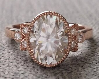 "Antique Diamond E-F Moissanite Engagement Ring Rose Gold Victorian Bezel Set Low Profile Filigree Gemstone PenelliBelle ""The Luella"""