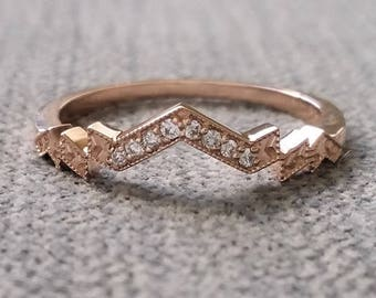 """Diamond Florence Matching Band Rose Gold 1920s Copper Gemstone Rustic Bohemian PenelliBelle Green Exclusive """"The Florence"""""""