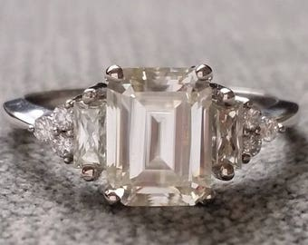 """Antique Moissanite and Diamond Engagement Ring Emerald Cut Baguette Flower Classic White Gold timeless PenelliBelle Exclusive """"The Margo"""""""