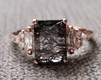"Antique Rutile Quartz Moissanite and Diamond Engagement Ring Emerald Cut Baguette Classic Rose Gold timeless PenelliBelle Rustic ""The Margo"""