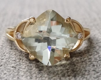 "Antique Green Amethyst Diamond Ring Mint Emerald Rectangle Art Deco Checkerboard Cushion Gemstone Engagement Ring 14K Gold "" The Celeste"""