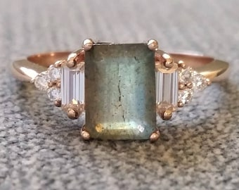 """Antique Labradorite Moissanite and Diamond Engagement Ring Emerald Cut Baguette Classic Rose Gold timeless PenelliBelle Rustic """"The Margo"""""""