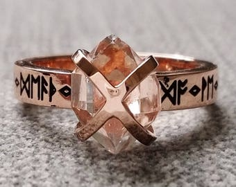 "Rustic Herkimer Diamond Engagement Ring Nordic Runes Terminated Quartz Old World Norse Mythology Viking 14K Rose Gold Hammered ""The Frigg"""