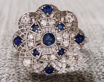 "Estate Halo Blue Sapphire Diamond Antique Engagement Ring Victorian Art Deco Filigree Lace Floral Flower 14K White Gold ""The Emma"""
