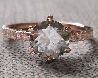 """Grey Moissanite Solitaire Engagement Ring Diamond Band Classic Antique Modern Simple Rustic 14k Rose Gold """"The Sarah"""""""