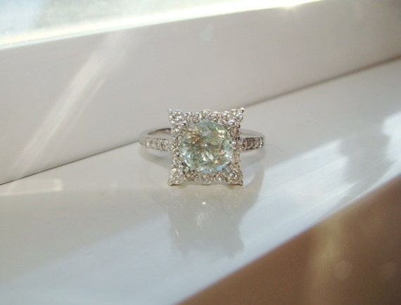 Items Similar To Pale Green Paraiba Tourmaline And Diamond