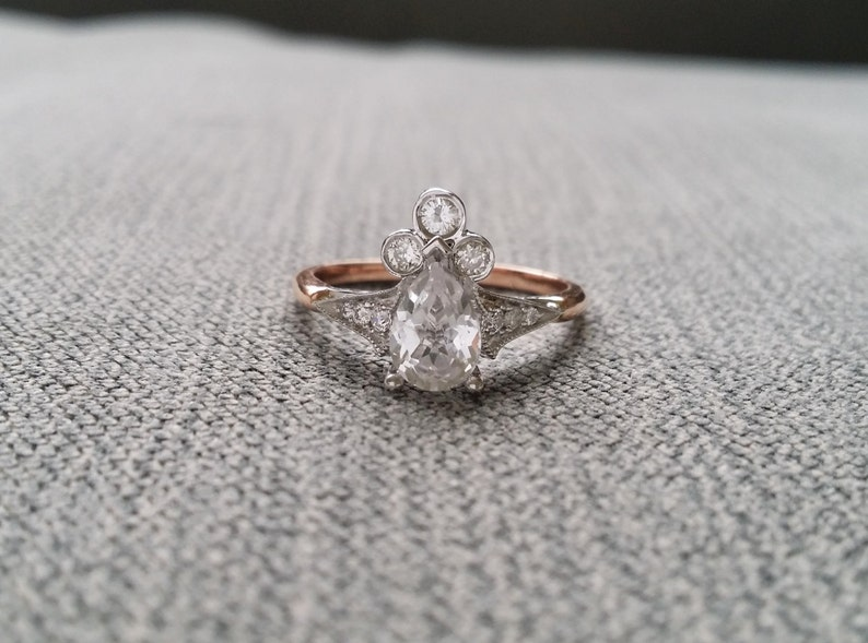 a1dc5dfc752ca Two Toned Pear White Sapphire Diamond Engagement Ring Vintage Antique  Victorian 14K Rose Gold White Gold Set Stacking Teardrop