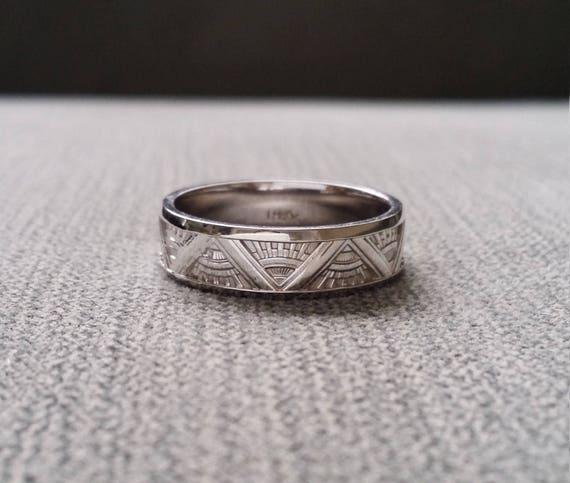 Art Deco Mens Wedding Band Ring Pattern Antique Unique Etsy