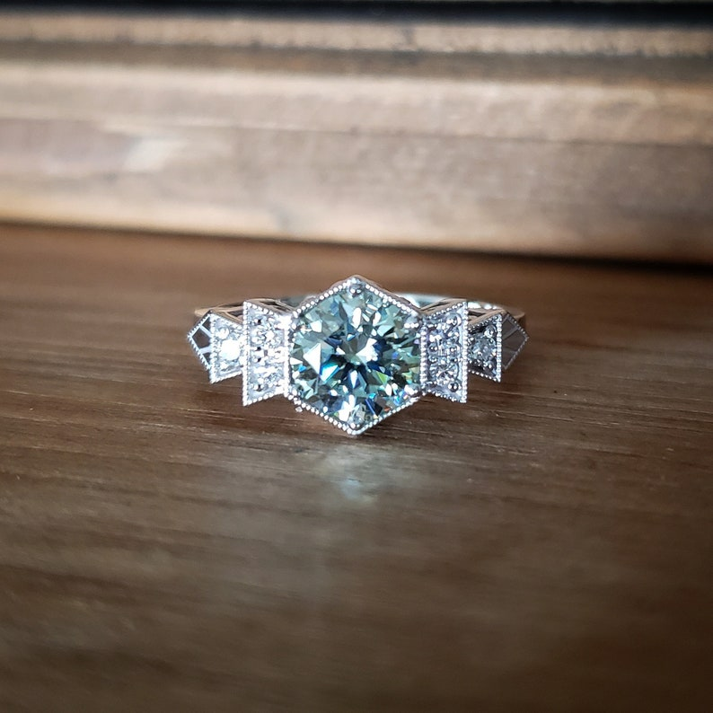 Antique Diamond Icy Mint Moissanite Engagement Ring 14k Gold image 0