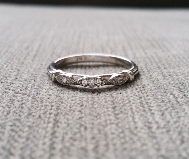 Victorian Diamond Wedding Band Etched Ring Vintage Antique Art image 0