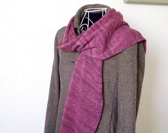 Couleur de framboise écrasée ondulé écharpe en tricot 100 % laine mérinos 0911984592e